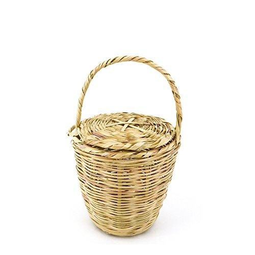 Rouven Sale Icone Parisienne Picnic Basket Tote Bag/Beige/XS/Weidenkorb mit Deckel Korbtasche Bastkorb Strohtasche Strandkorb/Tasche Henkeltasche modern chic rund Blogger Chic (W 16-17cm)