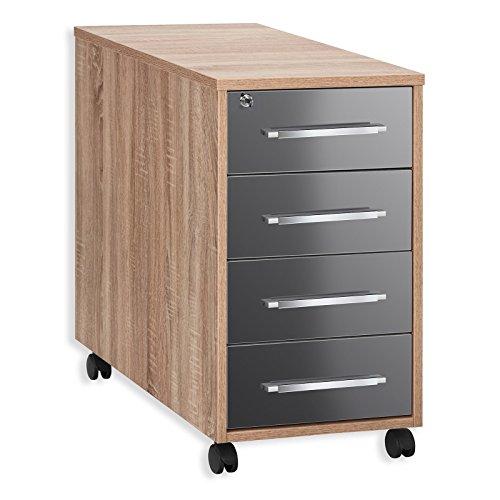 MAJA-Möbel 1714 2574 Anstell-Rollcontainer, Sonoma-Eiche-Nachbildung - grau Hochglanz, Abmessungen BxHxT: 43 x 75 x 80 cm