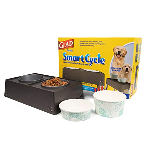 Glad for Pets Smart Cycle Adjustable Feeding Station System | Elevated Dog Bowl Inserts with 3 Height Options Dogs | Includes 4 Disposable Dog Bowls