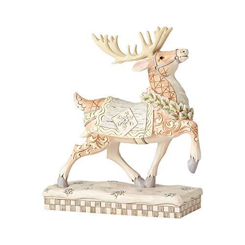 Enesco Jim Shore Heartwood Creek White Woodland Prancing Reindeer Figurine, 8', Multicolor