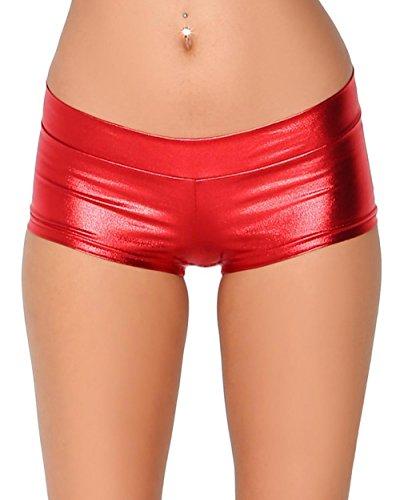iHeartRaves Metallic Rave Booty Dance Shorts (Medium, Red)