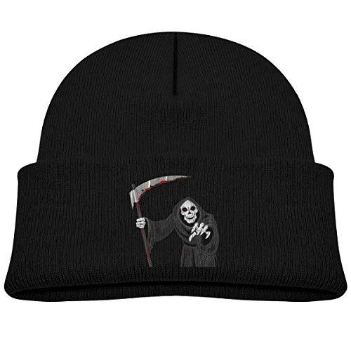 EASON-G Toddler's Beanie Scary Grim Reaper Cuffed Knit Hat Skull Cap Black