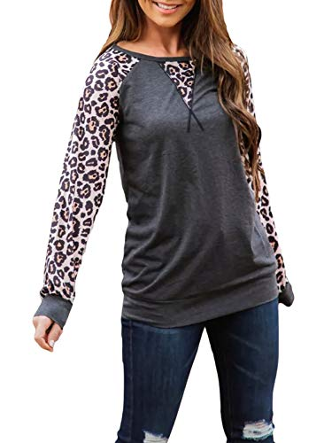 CORAFRITZ Camisetas de manga larga con estampado de leopardo para mujer, estilo casual, con cuello redondo,...