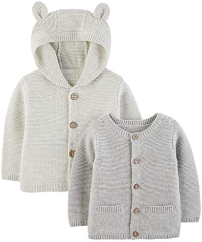 Simple Joys by Carter s Baby 2 Pack Neutral Knit Cardigan Sweaters Grey Newborn product image