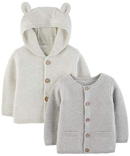 Product Image of the Simple Joys by Carter's Baby 2-Pack Neutral Knit Cardigan Sweaters, Grey, 0-3...