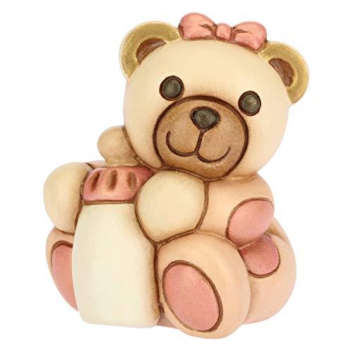 THUN - Teddy con Biberon per Bimba - Bomboniera e Soprammobile - Formato Piccolo - Ceramica - 5,6 x 5,5 x 6,85 h cm