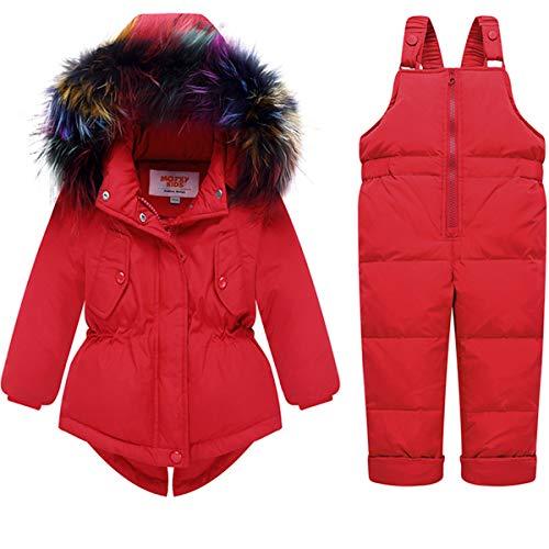 FAIRYRAIN 2tlg Kinder Mädchen verdickte Winterjacke Mit Colorful Fellschnitt Kapuze Winterjacke Daunenjacke + Daunenhose Stepphose Skihose Schneehose Bekleidungsset Schneeanzug (2-3 Jahre, Rot)