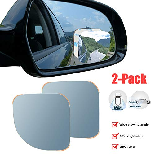 Blind Spot Mirror Frameless Sway Rotate Wide Angle Rear View Mirror HD Glass Fan Shape Pack of 2