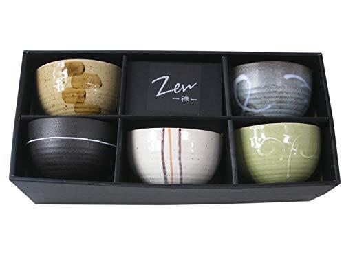 yoaxia ® - 5 Matcha-Schalen - Set in 5 verschiedenen Designs - MADE IN JAPAN von