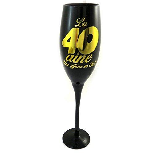Les Trésors De Lily [N2736 - Coupe Flute à Champagne '40 Ans' Noir doré