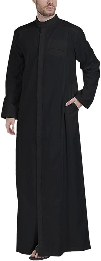KEHAIEN Men Muslim Solid Color Jubba Thobe Long Sleeve Stand Collar Robes Dubai Middle East Islamic Arabic Kaftan