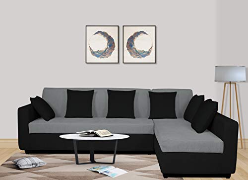 Adorn India Rio Decent L Shape 5 Seater coner Sofa Set (Right Side Handle) (Grey & Black)