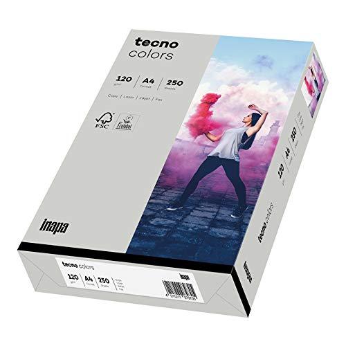inapa farbiges Druckerpapier, buntes Papier tecno Colors: 120 g/m², A4, 250 Blatt, grau, 2100011337_R