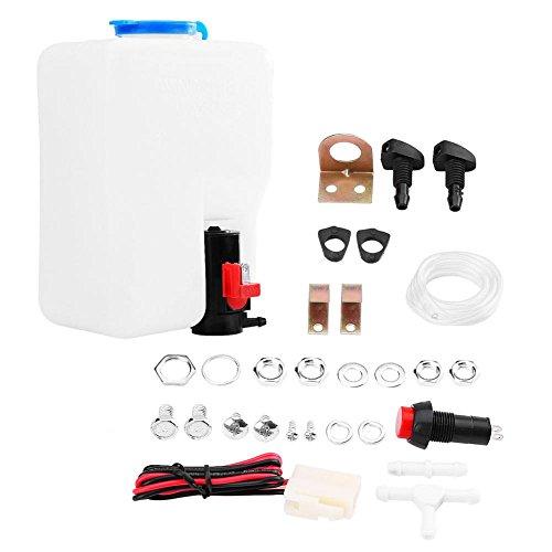 Qiilu Universal Windschutzscheibe Windschutzscheibe Unterlegscheibe Pump Flasche Tank Kit Reinigungswerkzeuge 12V für Classic Cars