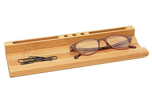Wedo 611807 Stiftschale Bambus Tisch Organizer (mit Smartphone-Halter, 3 Stiftehalterungen, großer Ablageschale, 28 x 9 x 3.8 cm) braun