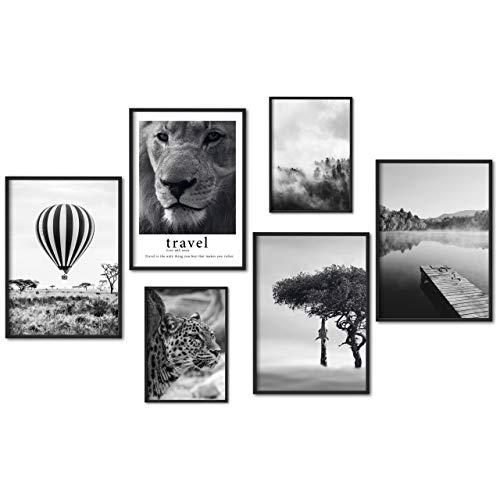 myestado® Premium Poster Set Bilder - Wohnzimmer Modern Schlafzimmer Bild für Ihre Wand - ohne Bilderrahmen - 4 x DIN A3 & 2 x DIN A4 - ca. 30x42 & 21x30 » Ballon «