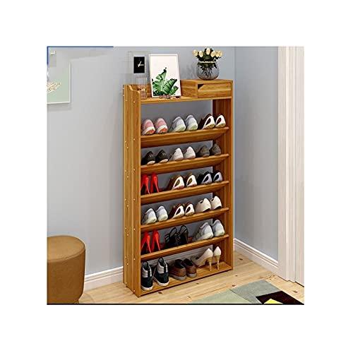 LYLY Zapatero Estante de Zapatos de 7 Niveles con cajón Libre de Madera, Estante de Zapatos Grande, Organizador de Almacenamiento de Zapatos para Pasillo de Entrada de Entrada Estante de Zapatos