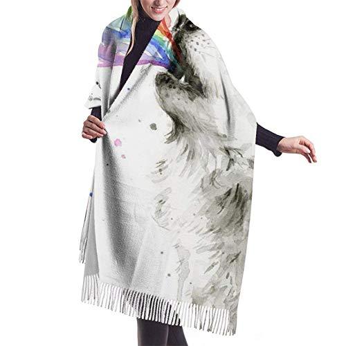 Wolf Spray Rainbow Bufanda para mujer Pashmina Chales Wraps para vestido de noche Invierno Cálido Bufandas grandes