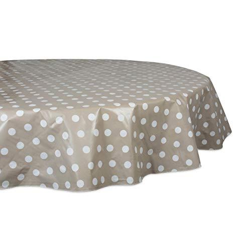 DII Tablecloth Vinyl Table Top, 70', Beige & White Polka Dot