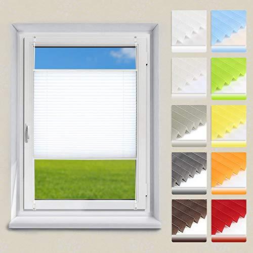 OUBO Plissee Klemmfix Faltrollo ohne Bohren Jalousie mit Klemmträger (Weiß, B40cm x H120cm) Sonnenschutz und Sichtschutz Easyfix lichtdurchlässig Rollo für Fenster & Tür