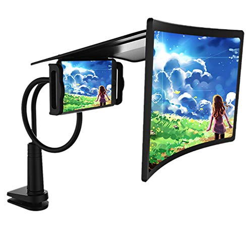 crepuscolo 12' Curve Screen Magnifier, High Definition 3D Mobile Phone Magnifier Projector with Flexible Bracket, Anti-Blue Light Amplifier Screen Enlarger for Movies, Videos, and Gaming, Black