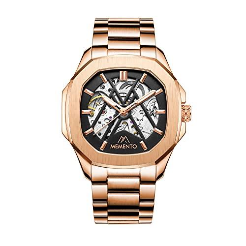 MEMENTO Moscova - Reloj automático para hombre de acero con correa intercambiable de diseño elegante y deportivo, Oro rosa / Acero,
