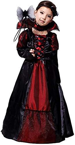 Cloudkids Disfraz Vampiresa de Niña 7-9 Años, Halloween Disfraz de Vampiro Niña Chica, Talla L, Color Rojo y Negro