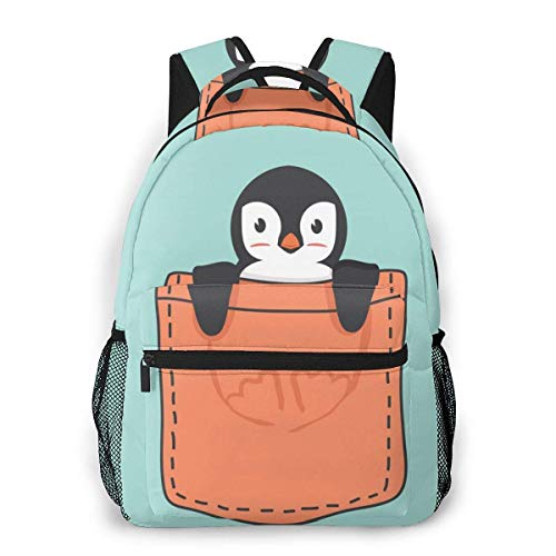 Lawenp Fashion Unisex Backpack Cute Penguin in The Pocket Bookbag Lightweight Laptop Bag for School Travel Outdoor Camping