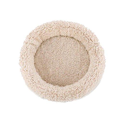MagiDeal Rund Bett Decke Teppich samt warme Matte Isomatte für Hamster Igel Mäuse Ratten und andere Kleintiere, Baumwolle - Sahne S