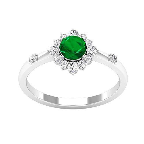 Anillo de solitario de esmeralda certificado SGL de 0,48 quilates, anillo de oro de 0,29 quilates, piedras preciosas clásicas para mujer, anillo de promesa de dama de honor, 14K Oro blanco, Size:EU 57