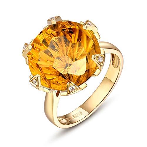 Beydodo Anello Pietra Citrino 10 carati, Anello Oro Personalizzato Anello Fiore con Citrino E Diamante Misura 17 - Anello Matrimonio Oro 18K