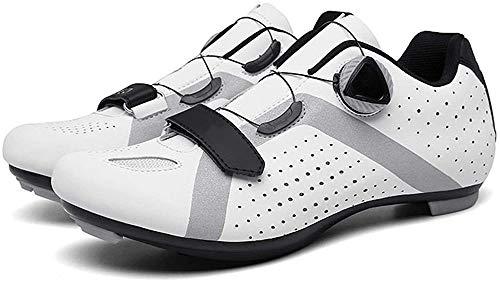 KUXUAN Zapatillas de Ciclismo para Hombre Zapatillas de Ciclismo de Carretera para Mujer Zapatillas de Bicicleta de Montaña Zapatillas de Ciclismo,White-38EU=(240mm)