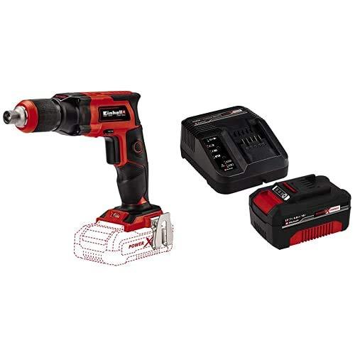Einhell 425998 Taladro atornillador para yeso TE-DY 18 LI- A batería, Rojo/Negro + Kit con Cargador y batería de repuesto de 18 V, 4 Ah, 0 W, 21 V, Negro, Rojo, 4.0, Tiempo de Carga: 60 Minutos