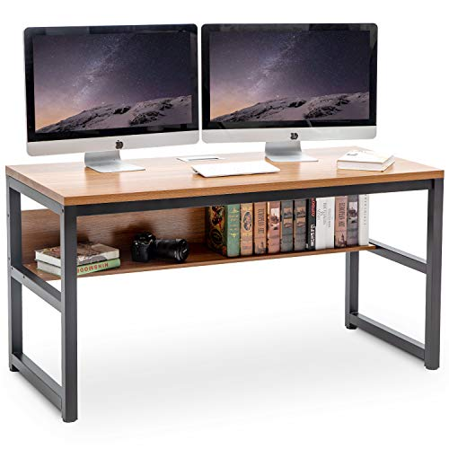 TOPSKY 55' Computer Desk with Bookshelf/Metal Desk Grommet Hole Cable Cover (Oak_Brown)