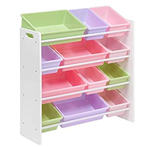 Homesmiths White Toy Storage Organizer for Kids, Set of 12 Pastel Bins Perfect for Home, Play Schools & Kindergarten