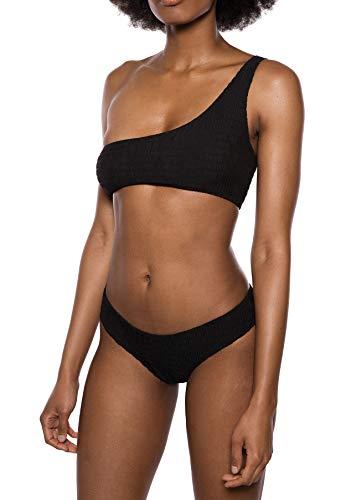 IVYREVEL Damen Crinkle One Shoulder Top Bikinioberteil, Schwarz (Black 001), 56 (Herstellergröße: 38)