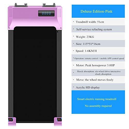 DUDM con Bluetooth Intelligente Tappeto da Corsa Elettrico velocità Regolabile Running Machine for Home con Telecomando Portatile Tapis Roulant with Display HD AcrilicoPink-115x51x16cm(45x20x6inch)