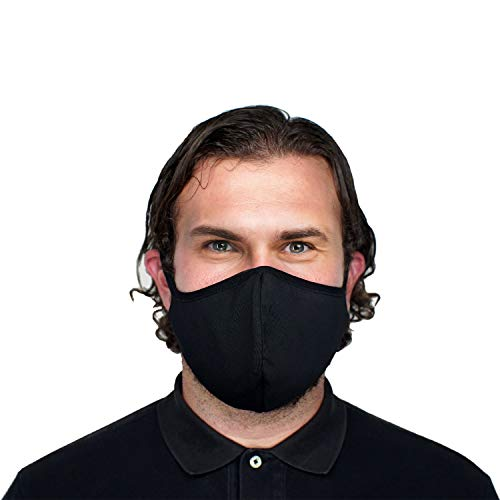 3 Pack Unisex Mouth Face Covering, Black Dust Cotton, Reusable and Washable Cloth for Adults