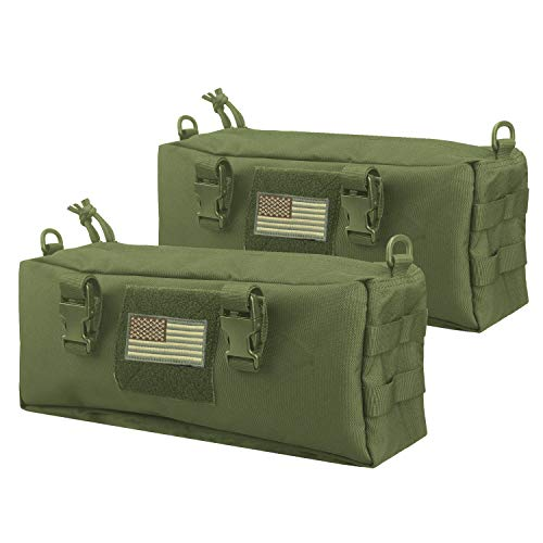 AMYIPO Tactical Pouch Multi-Purpose Large Capacity Increment Pouch Short Trips Bag (Green (2 PCS))