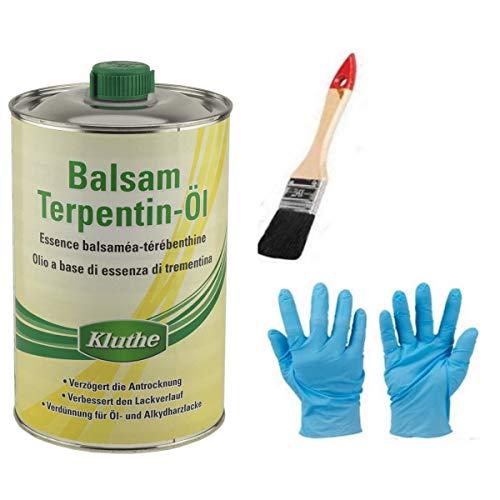 Hochwertiges, natürliches Balsam-Terpetinöl bester Qualität. inkl.1 Pinsel und 1 Paar Nitrilhandschuh zum Auftragen von E-Com24 (1 Liter)