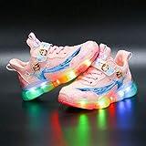 Luces LED de moda zapatos transpirables para niños zapatillas casuales para correr, deportes, transpirables, atléticas, ligeras, para niños y niñas, zapatos de princesa (tamaño: 31, color: rosa)