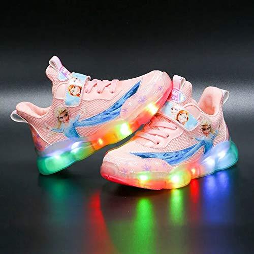 Luces LED de moda zapatos transpirables para niños, zapatillas de deporte para correr, transpirables, atléticas, ligeras, para niños y niñas, zapatos de princesa (tamaño: 30, color: rosa)