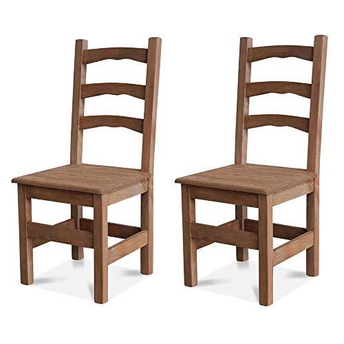 Elean 2 er Set Esszimmerstuhl (HSL-01) Holzstuhl Kuechenstuhl Kiefer massiv Stuhl mit Lehne zusammengebaut 14 Farbvarianten (Eiche lasiert)