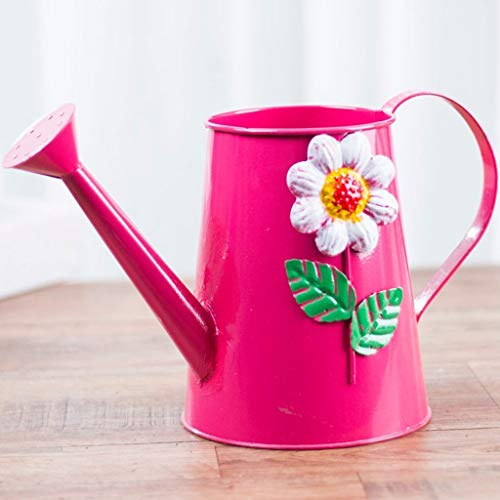 Indoor Plastic Watering Can Household Watering Color Tin Watering Can, Vintage Printing Watering Can, Watering Flower Spraying Watering Can (red, 2L) Garden Watering Can (Color : A)