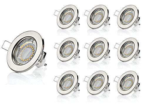 Lot de 10 spots encastrables SW-RC01N - LED GU10 - 5 W - 450 lumen - 230 V - Avec cadre de montage blanc chaud