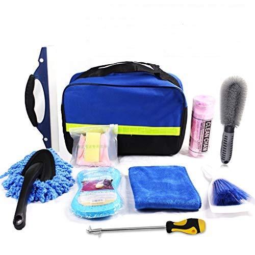 Leaer - Juego de 10 herramientas de limpieza de microfibra para lavar el coche con bolsa de almacenamiento para el exterior de lavado y limpieza interior, lavado de coche, moto