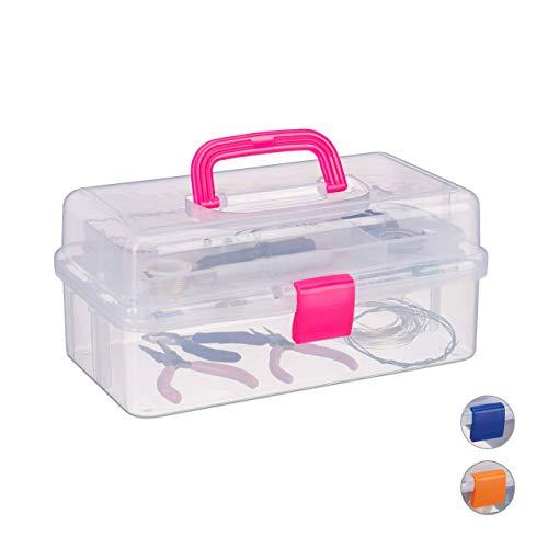 Relaxdays Transparente Plastikbox, 9 Fächer, Werkzeugbox, Nähkästchen, Werkzeugkoffer, Werkzeug, HBT 14x33x19 cm, pink