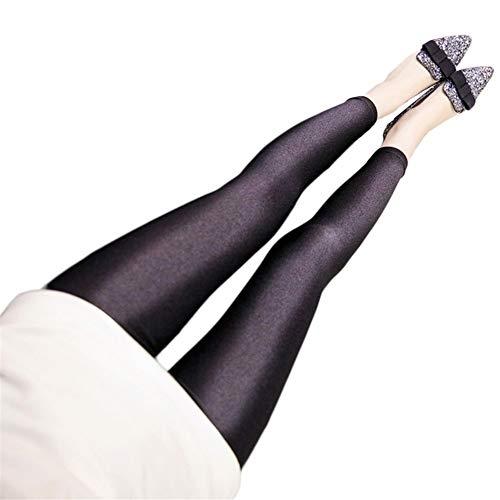 Frauen Solid Color Fluorescent glänzende Hose Leggings Große Größe Spandex Elastizität Hosen for Mädchen (Color : Black, Size : M)