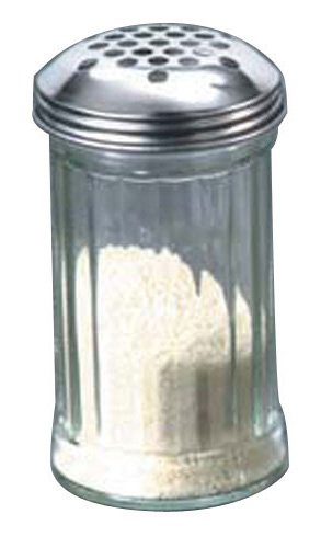 American Metalcraft GLA319 12 oz Glass Cheese Shaker w/Extra Large Holes Lid