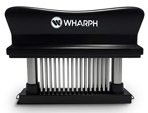 WHARPH Premium Meat Tenderizer - Manual Hand Held Heavy Duty and Dishwasher Safe 48-blade Stainless Steel Razor Pin Press Kitchen Tool -Great for Tenderizing Beef Pork Chicken BBQ Steak Marinade